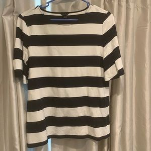 Ann Taylor Navy and White Stripe Knit Top size med